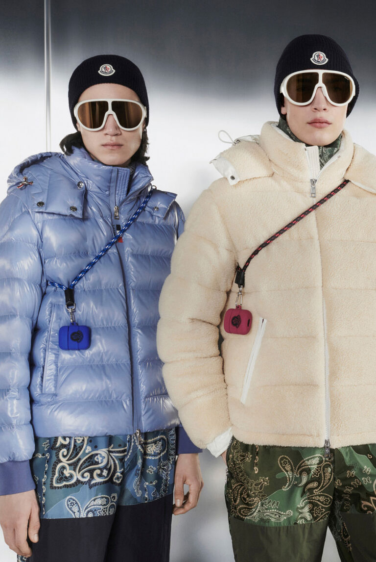 Four models wearing Moncler Bandana Brink short down jackets