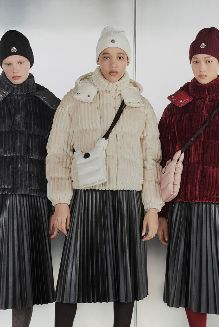 Three women presenting the Moncler AMPLIFIED VELVET collection