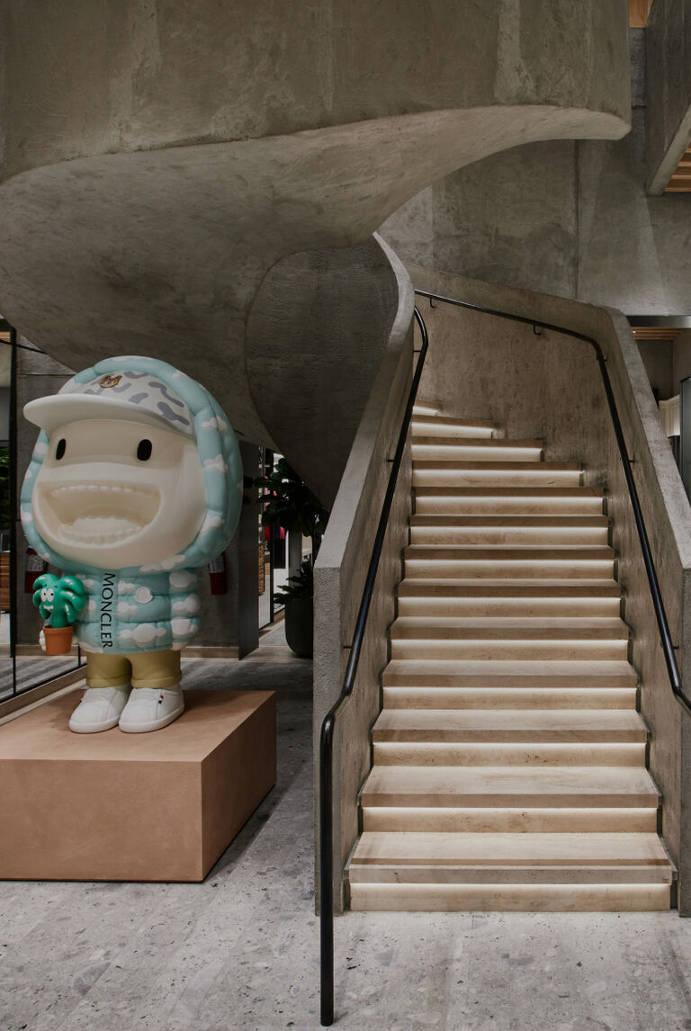 The interior staircase of the new LA Moncler store in Beverly Hills