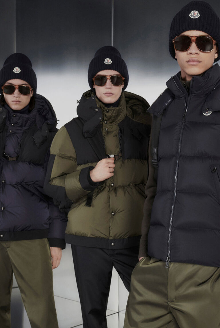 Four models wearing Moncler Ground Roving outerwear
