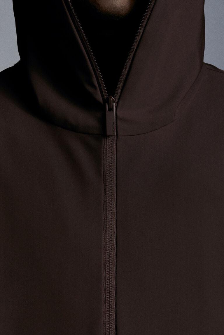 Detail of a brown Moncler Matt Black down jacket