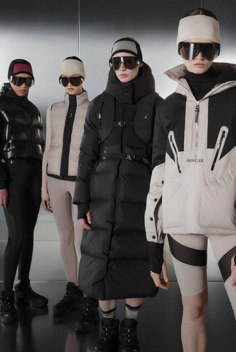Five women wearing Moncler Matt Black Collection