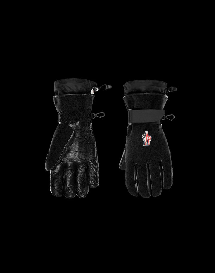 Moncler Ski gloves in technical twill Black