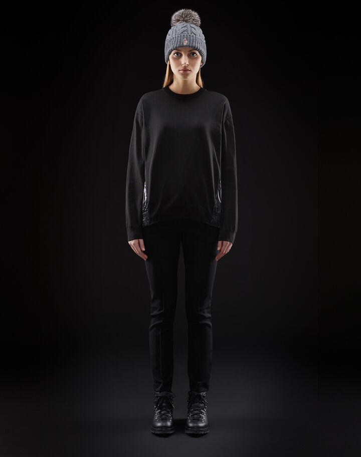Moncler Crewneck with nylon details Black