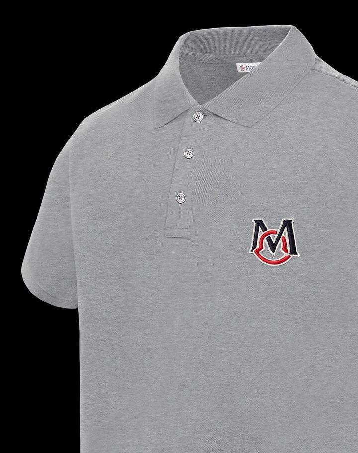 Moncler Cotton piqué polo Melange Light Gray