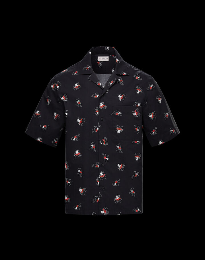 Moncler Cotton shirt with Felix the Cat print Dark Grey Melange