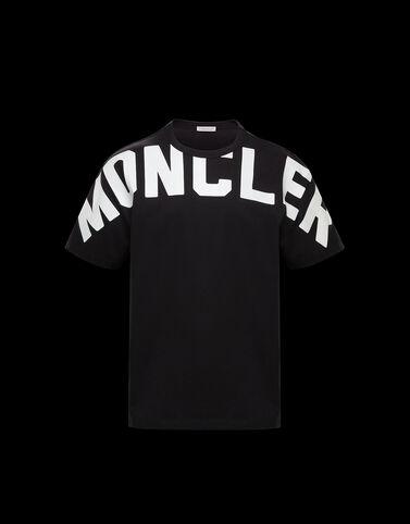 Moncler 무광택 레터링 티셔츠 블랙