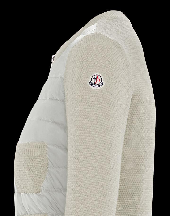 Moncler Wool and nylon cardigan Silk White