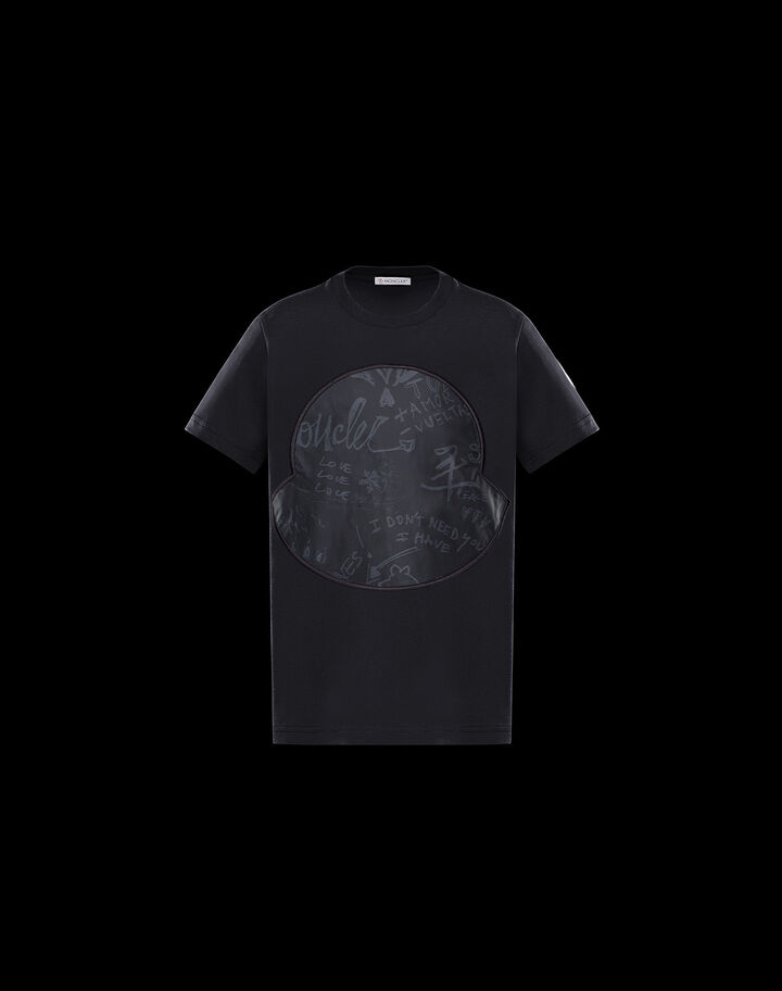 Moncler T-shirt with macro logo Black