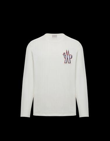 Moncler 자수 장식 패치 티셔츠 실크 화이트