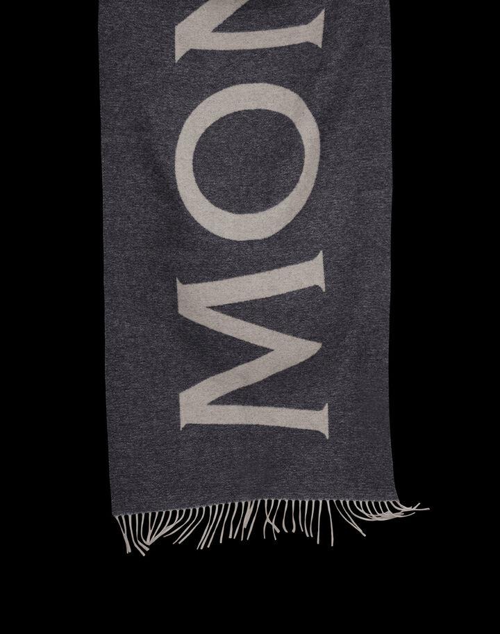 Moncler Jacquard wool scarf logo Dark Grey Melange