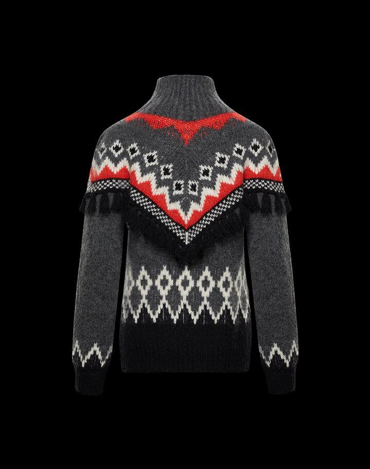 Moncler Wool jacquard sweater Dark Grey Melange