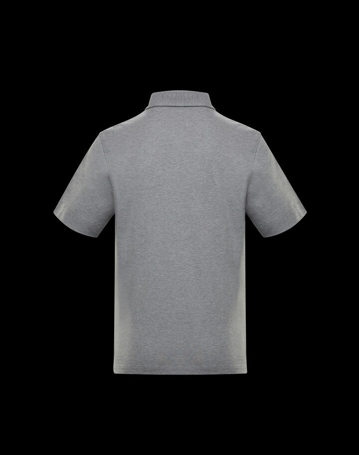Moncler Polo with silicone patch Melange Medium Gray