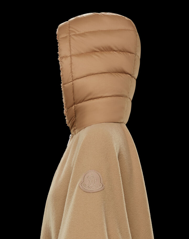 Moncler Cape with faux fur details Natural Khaki Beige