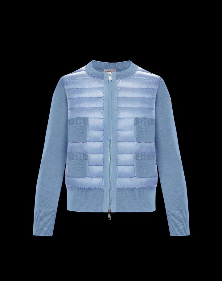 Moncler Wool and nylon cardigan Dutch Blue