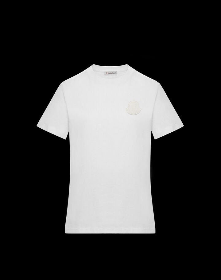Moncler T-shirt with Moncler logo in contrast Off-White