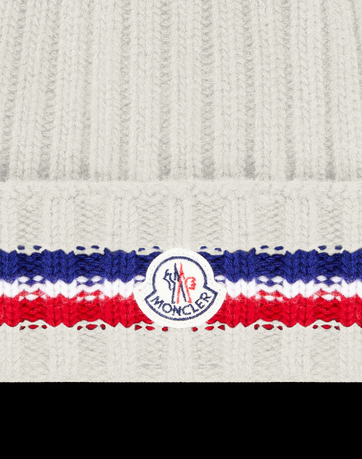 Moncler Rib-knit wool beanie Silk White