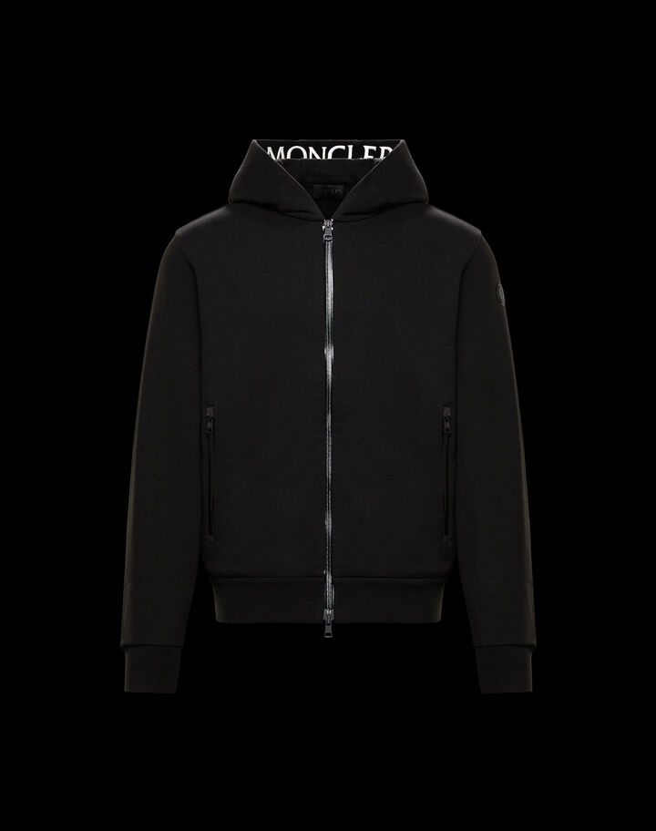 Moncler Hoodie with grosgrain print Black