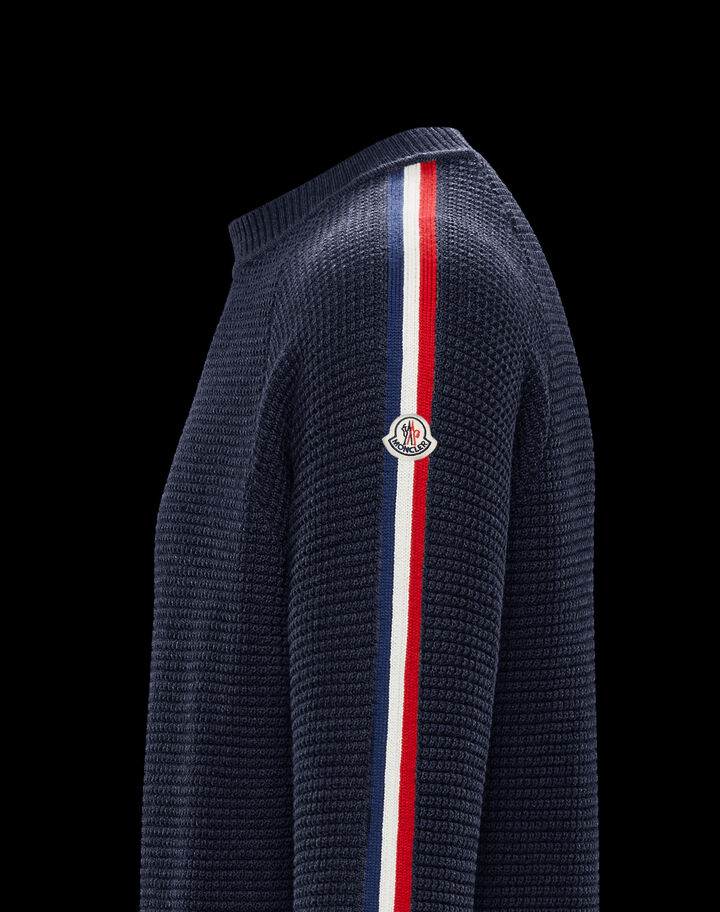 Moncler Crewneck with logo on the sleeves Night Blue