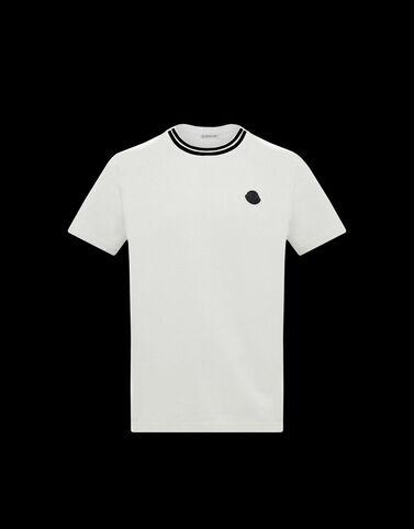 Moncler 네크라인 자수 장식 티셔츠 실크 화이트