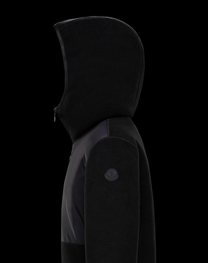 Moncler Hoodie with nylon mesh Black