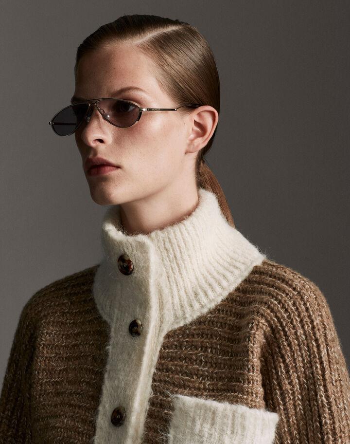 Moncler Wool turtleneck with contrast Camel Beige