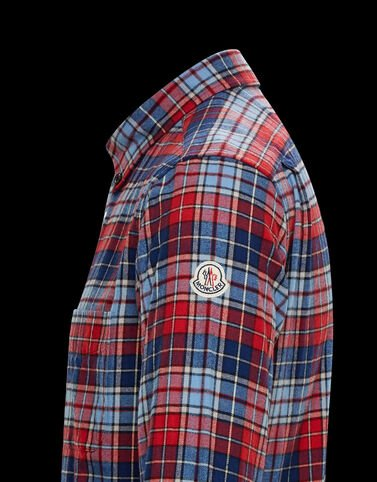 Moncler 체크무늬 코튼 셔츠 칠리 레드