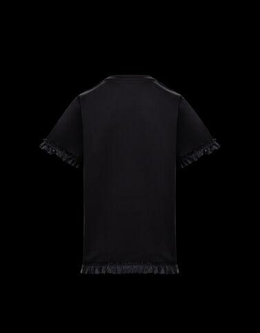 Moncler 러플 디테일 티셔츠 블랙