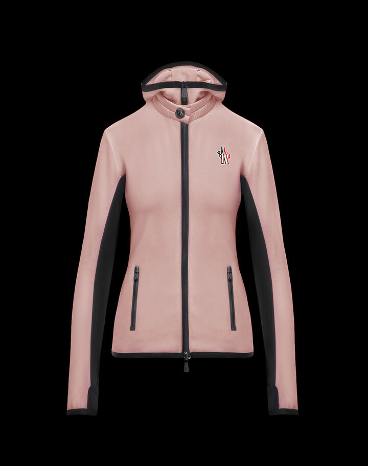 Moncler Hooded stretch cardigan Blush