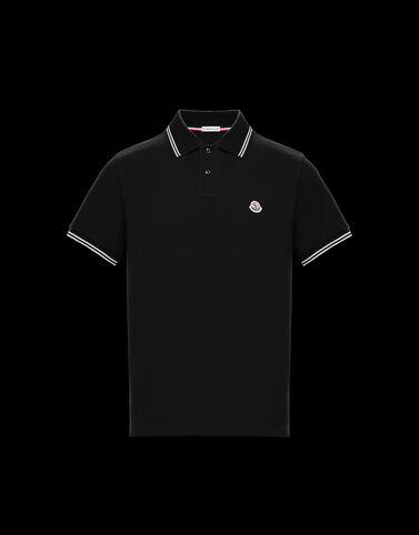 Moncler 화이트 핀스트라이프 폴로 셔츠 블랙