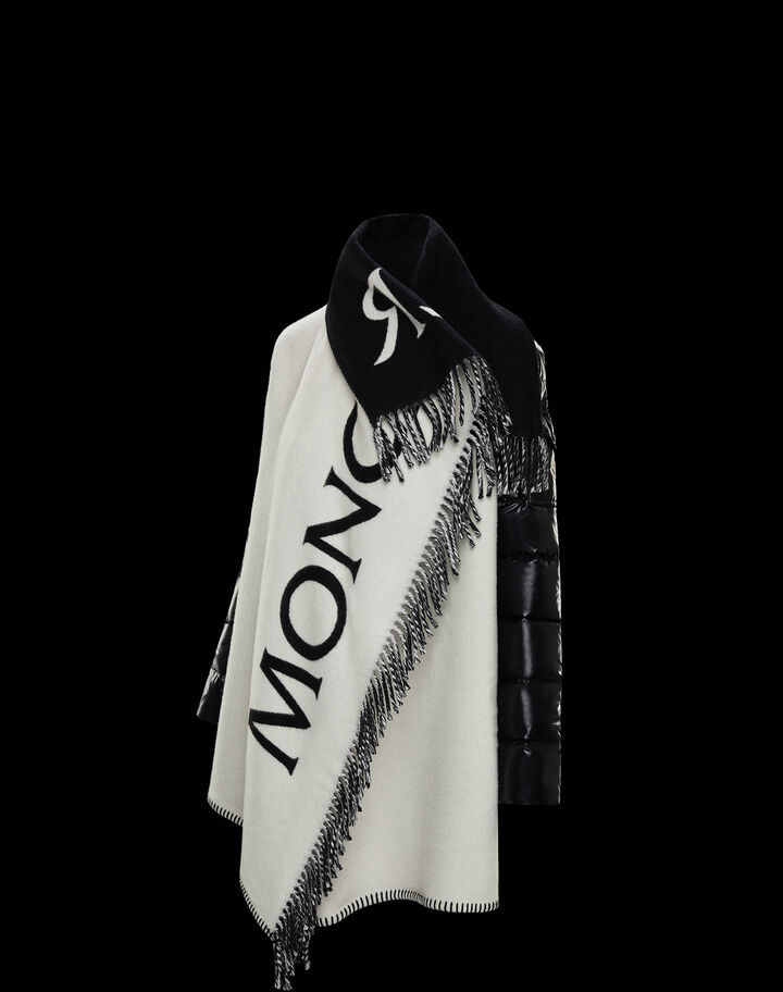 Moncler Jacquard cape logo Silk White
