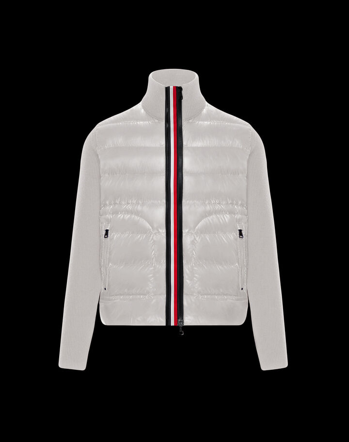 Moncler Tricolor zipper cardigan Ivory White