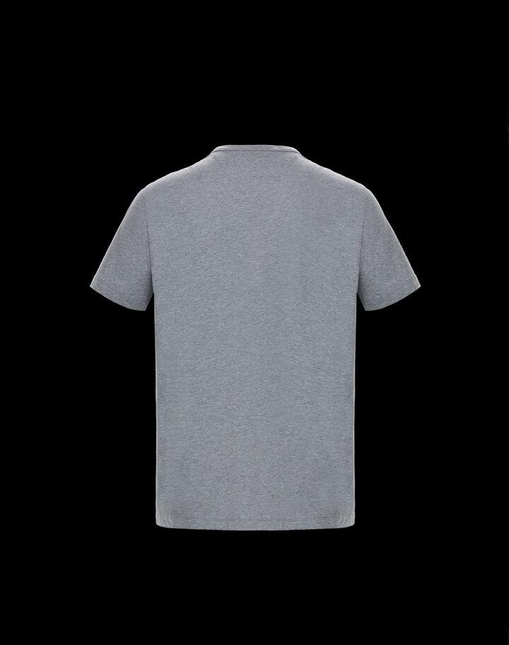 Moncler T-shirt with Moncler vertical lettering Melange Light Gray