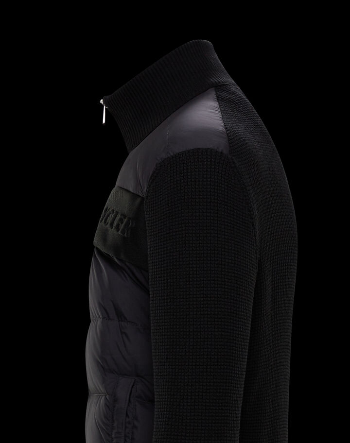 Moncler Down filled cardigan with graphics Black