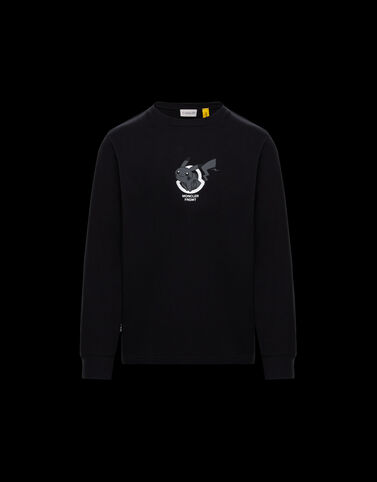 Moncler 긴소매 프린트 티셔츠 블랙
