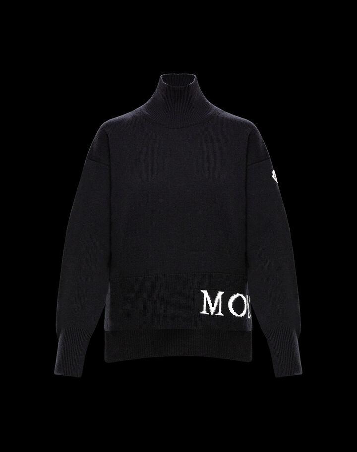 Moncler Turtleneck sweater Moncler with lettering Black