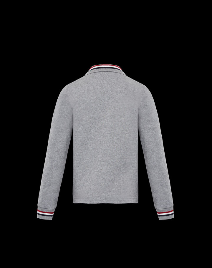 Moncler Polo with tricolor detail Melange Medium Gray