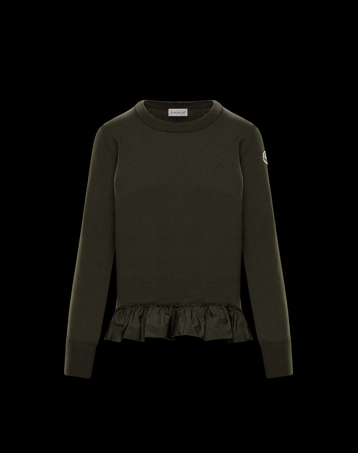 Moncler Crew neck long sleeve with detail Dark Army Green