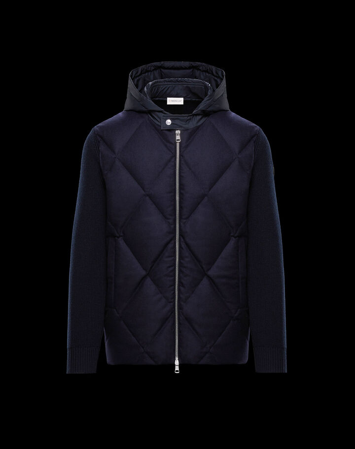 Moncler Cardigan with embroidered rhombus Night Blue