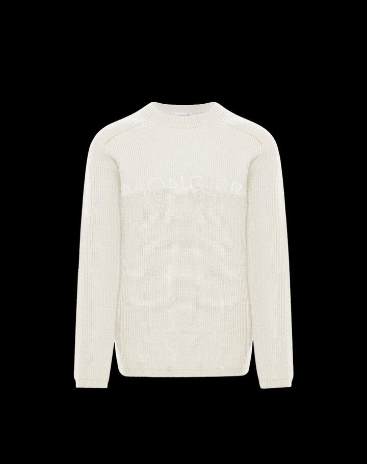 Moncler Crewneck sweater with logo Silk White