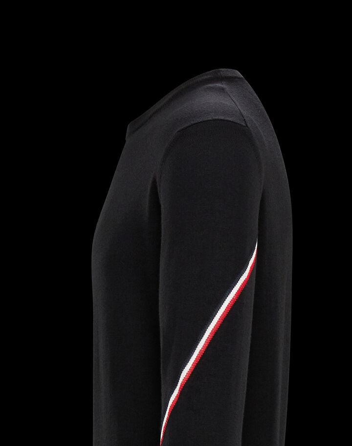 Moncler Crewneck sweater with tricolor detail Black