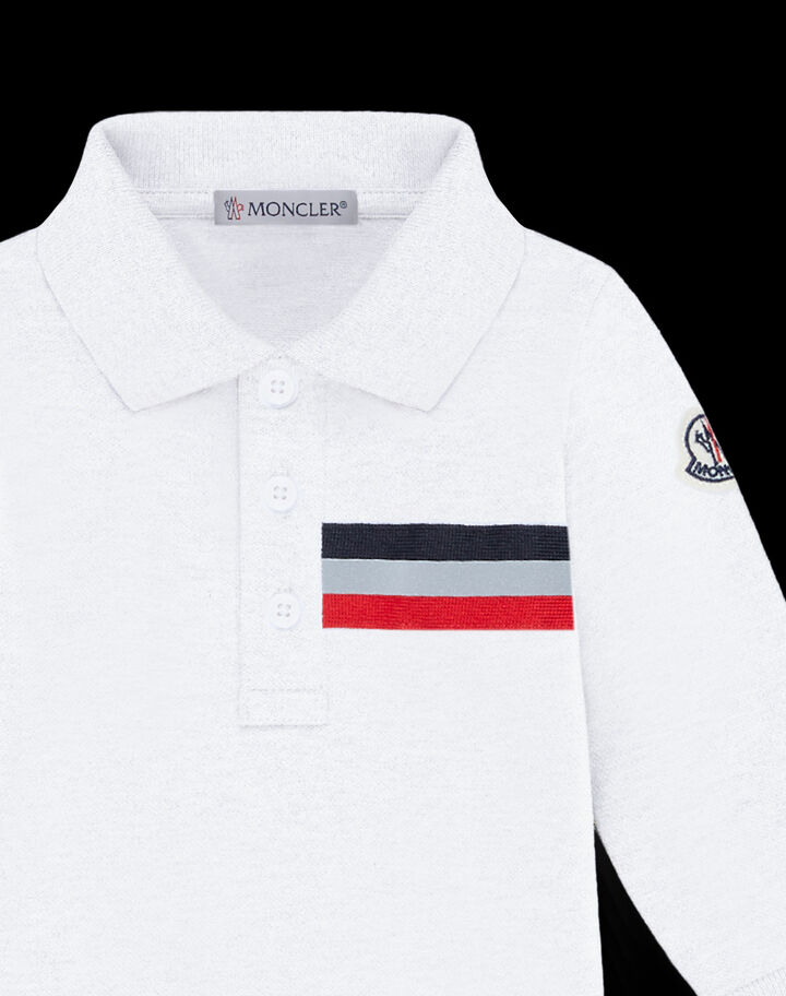 Moncler Long sleeve polo with tricolor detail Optical White