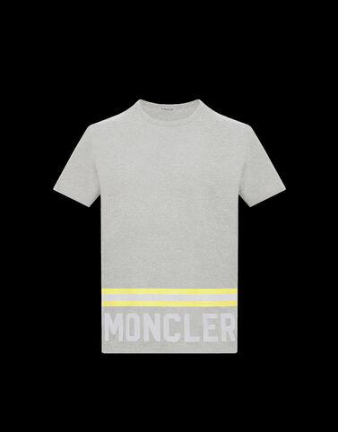 Moncler 형광 레터링 티셔츠 라이트 그레이 멜란지