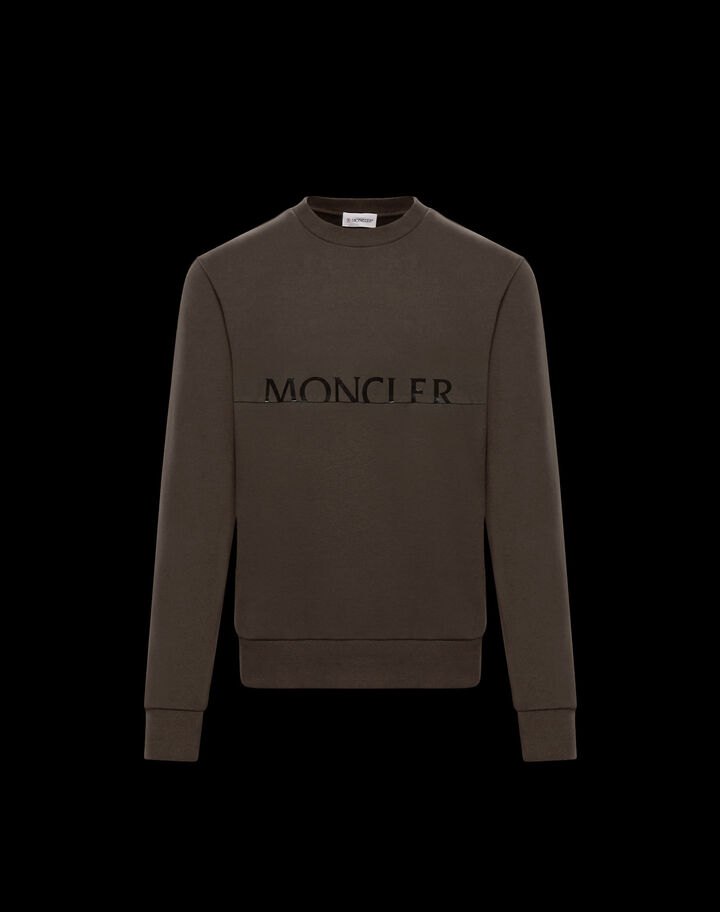 Moncler Crewneck sweater with logo Dark Army Green