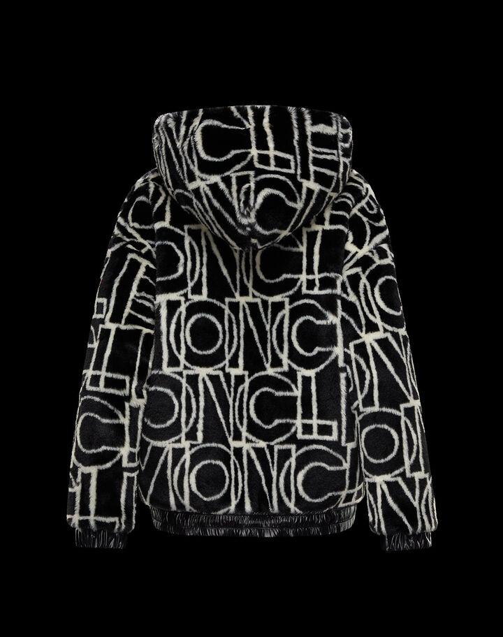 Moncler Faux fur jacquard hooded cardigan Black