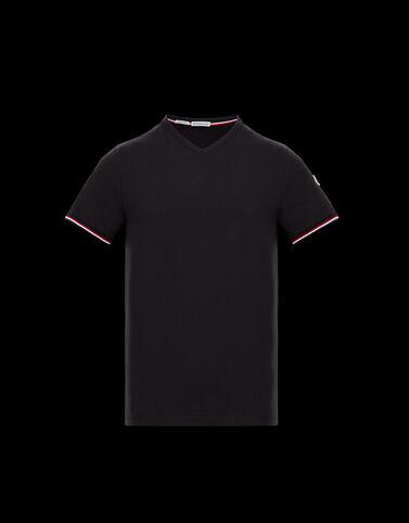 Moncler 브이넥 티셔츠 블랙