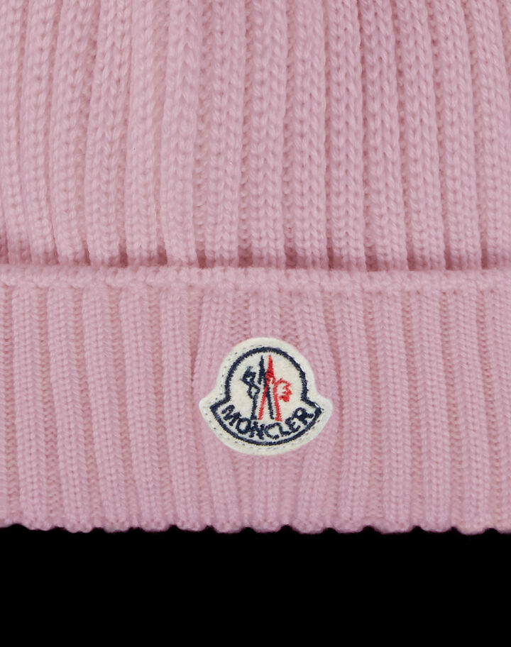 Moncler Beanie with logo Powder Pink