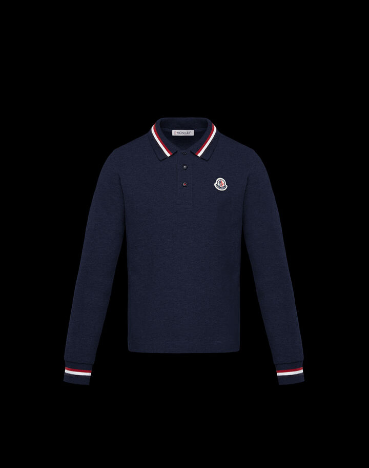 Moncler Polo with tricolor detail Night Blue
