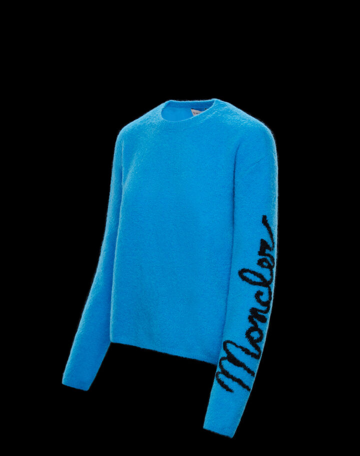Moncler Sweater with logo on sleeve Eletric Blue