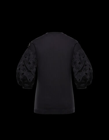 Moncler 소매 자수 장식 티셔츠 블랙